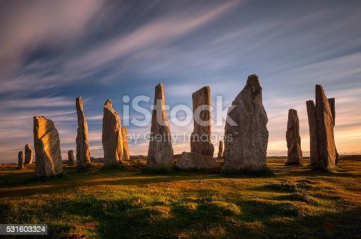 Callanish stones in sunset light, Lewis, Scotland