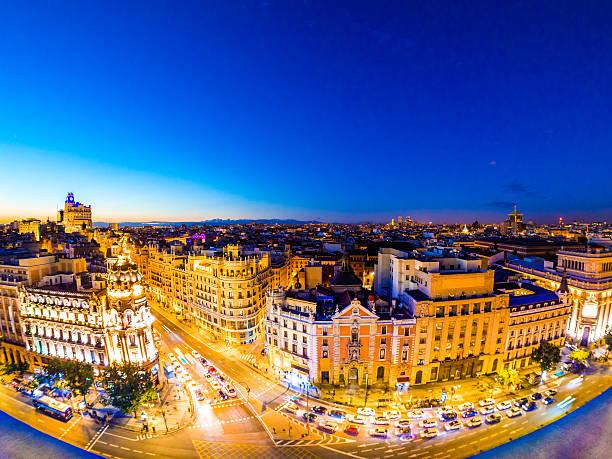 Calle de Alcala in Madrid, Spain at night stock photo