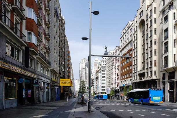 Calle Gran Vía in Madrid (Spain), deserted by the coronavirus. stock photo