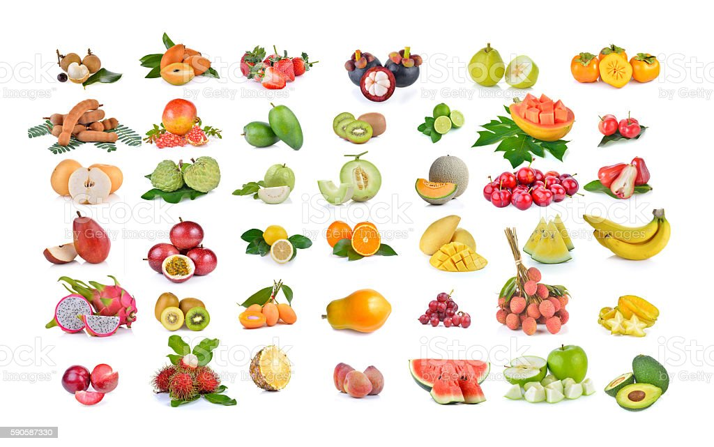 callection of fruits on white background stock photo