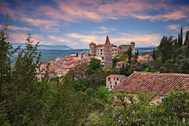 Callian, Var, Provence, France: landscape at dawn of the ancient village Callian, Var, Provence, France: landscape at dawn of the ancient village on the hill var stock pictures, royalty-free photos & images