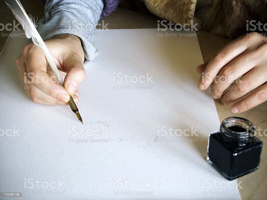 Calligrapher stock photo