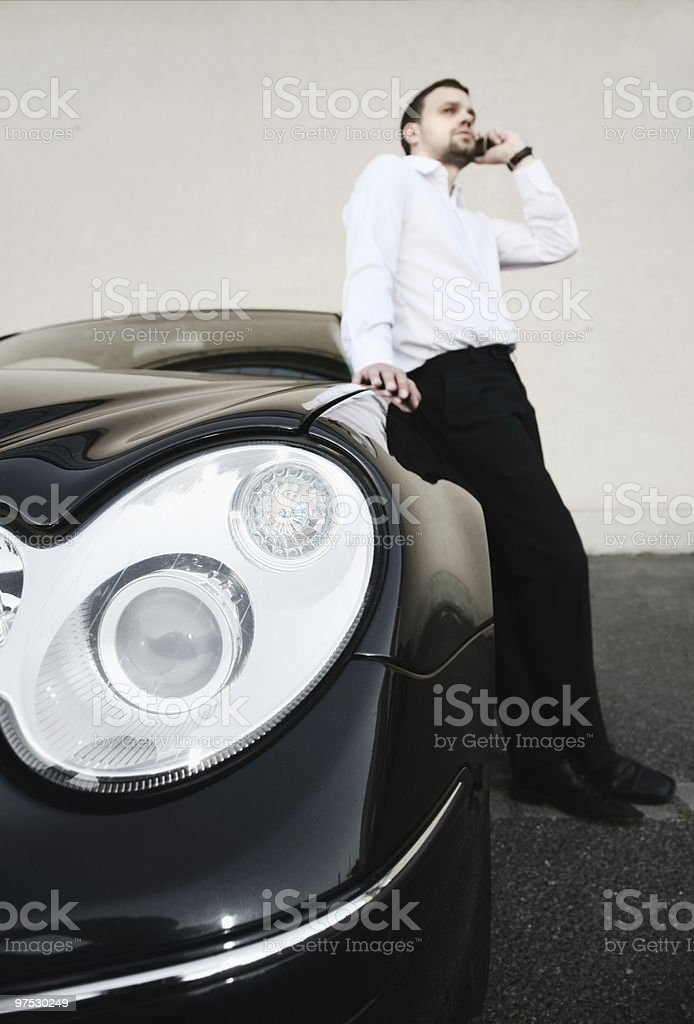calling at the car royalty-free stock photo