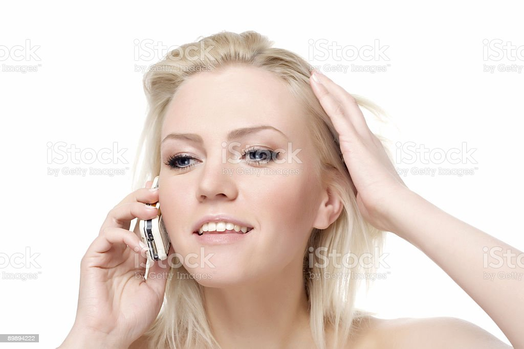 calling by phone royalty-free stock photo