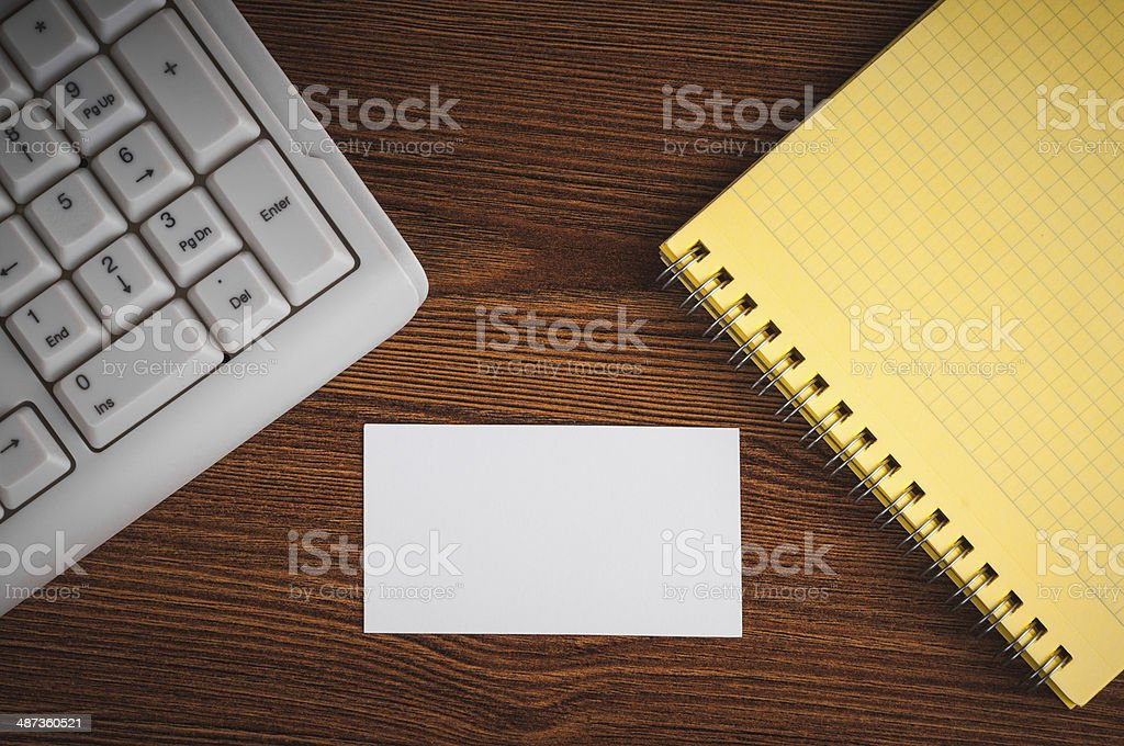 calling card on the wooden desk royalty-free stock photo
