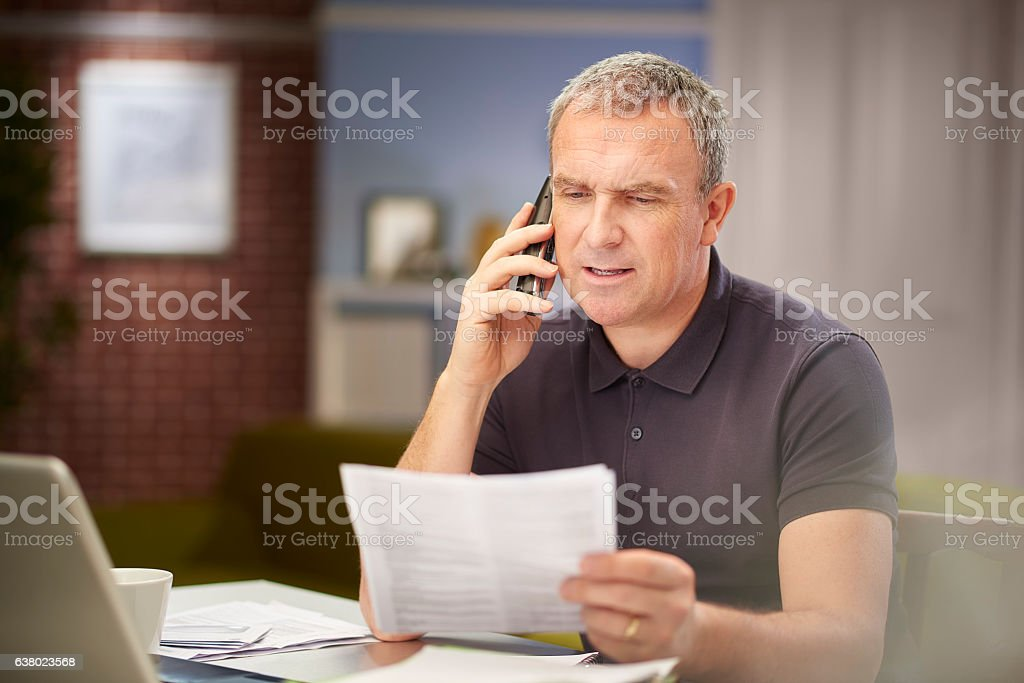 calling customer services. stock photo