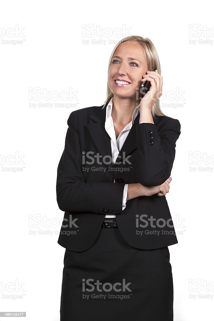 calling female with mobile stock photo
