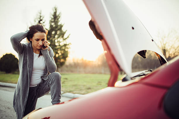 calling for help on the road - impaired driving stock photos and pictures