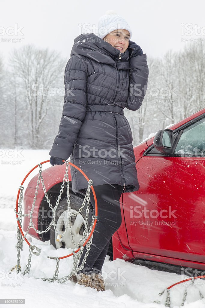 Calling for help on winter day royalty-free stock photo