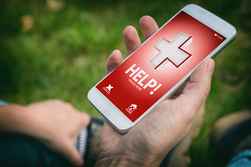 istock Calling for help with smart phone app 951120494