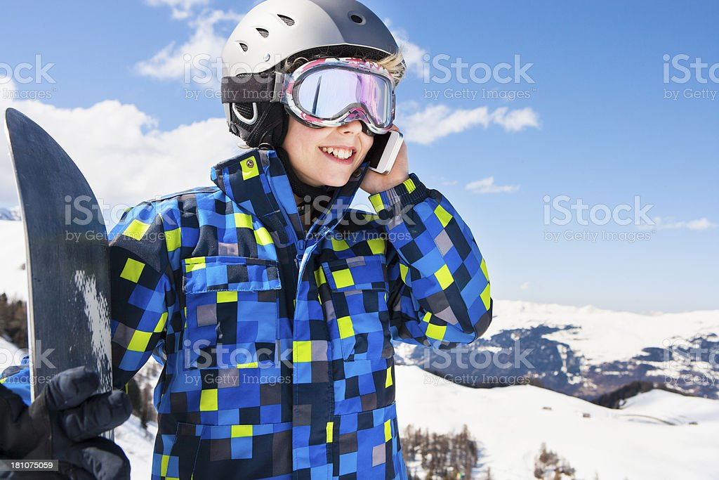 Calling from the Slopes royalty-free stock photo