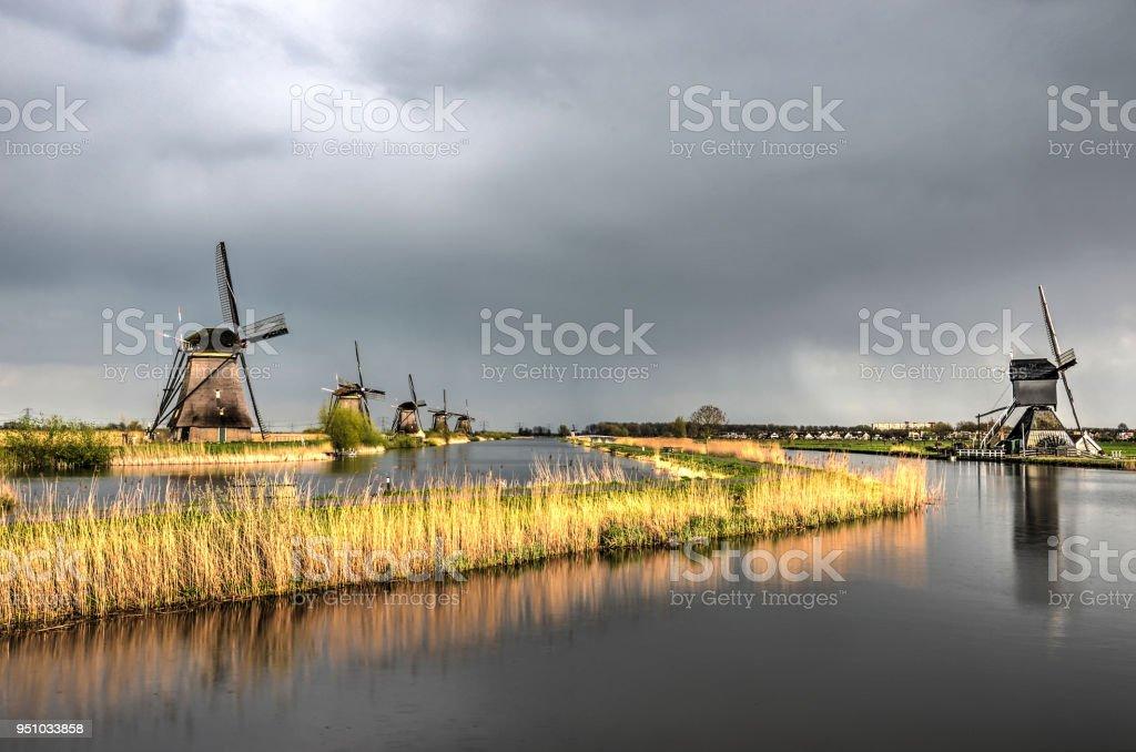 Calm after the storm at Kinderdijk stock photo