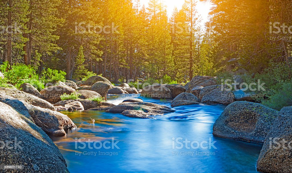 Calm and Beautiful Water Streams of Yosemite National Park stock photo