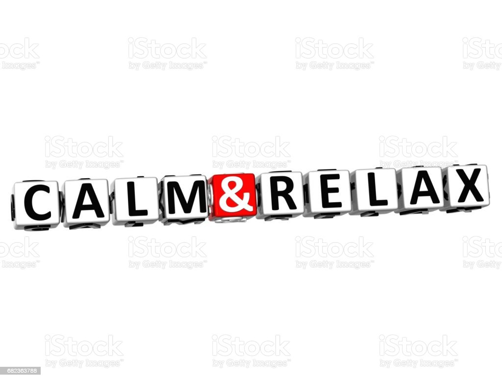 3D Calm and Relax Crossword Block text on white background royalty-free stock photo