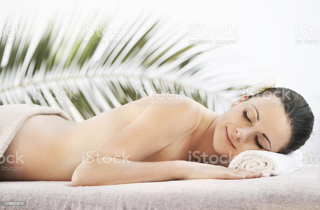 Calm and relaxed after her massage royalty-free stock photo