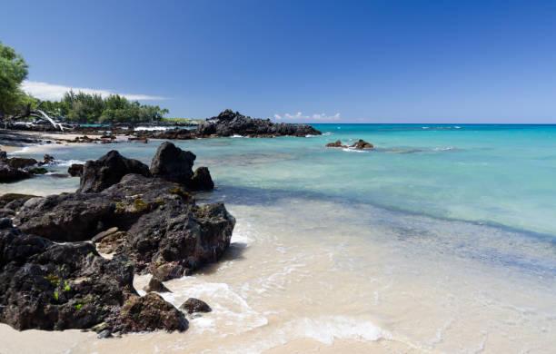 Calm and serenity of Waialea  beach during morning hike , Puako Bay, Waimea, Big Island, Hawaii stock photo