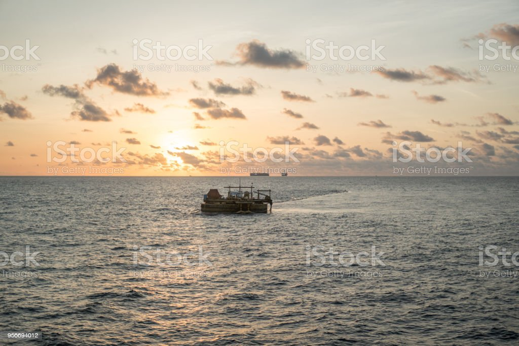 Calm bouy. Offshore oil and gas industry stock photo