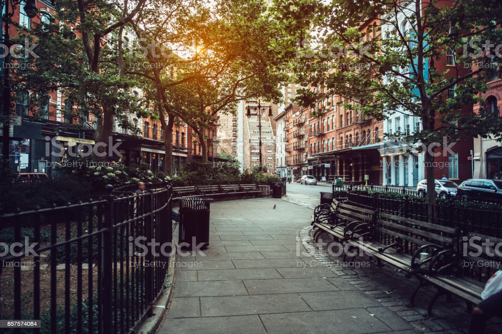 Calm city street park under sunlight in Manhattan stock photo