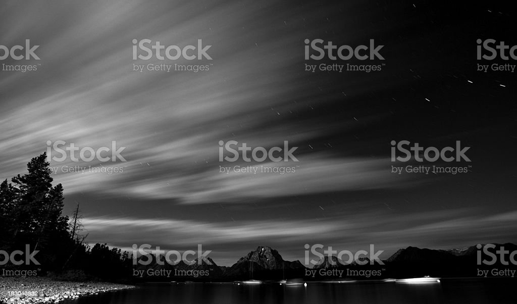 Calm evening on a blue lake in the mountains royalty-free stock photo