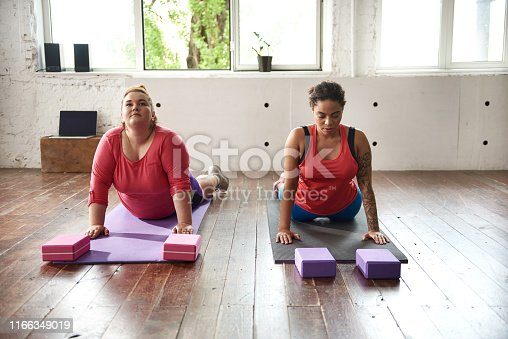Caucasian plus size woman and Afro American lady in color tracksuits stretching together