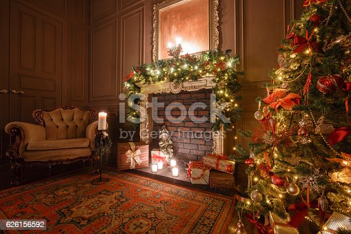 istock Calm image of interior Classic New Year Tree decorated in 626156592