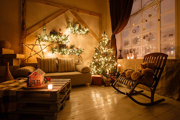 Calm image of interior modern home living room decorated christmas stock photo