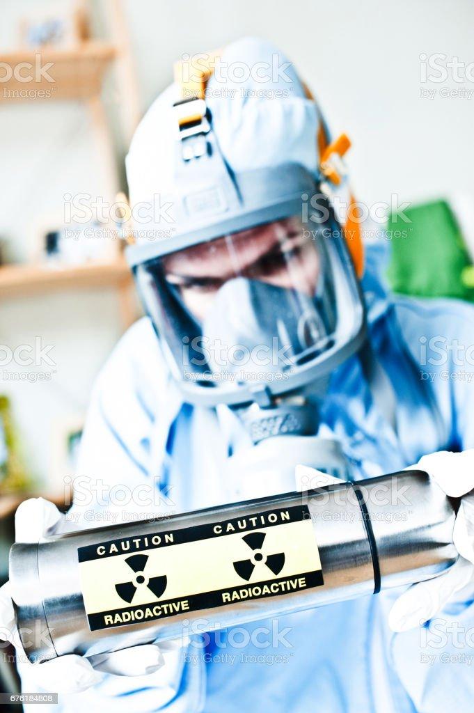 Calm In The Face of Danger - Female Hazmat / Hachem Scientist @ Work stock photo
