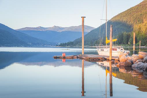 Calm, peaceful morning on Kootenay Lake in Nelson, B.C.