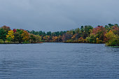 Bold autumn colors  stand out as the leaves turn  on the trees surrounding a lake on a rainy day.