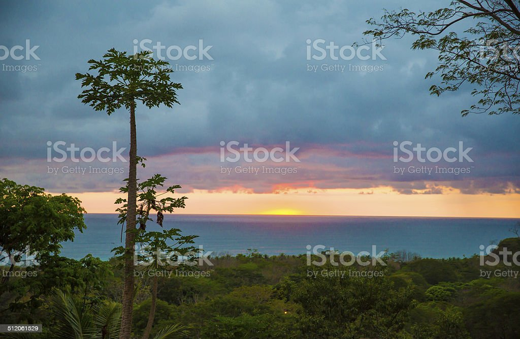 Calm looking sunset in Costa Rica stock photo