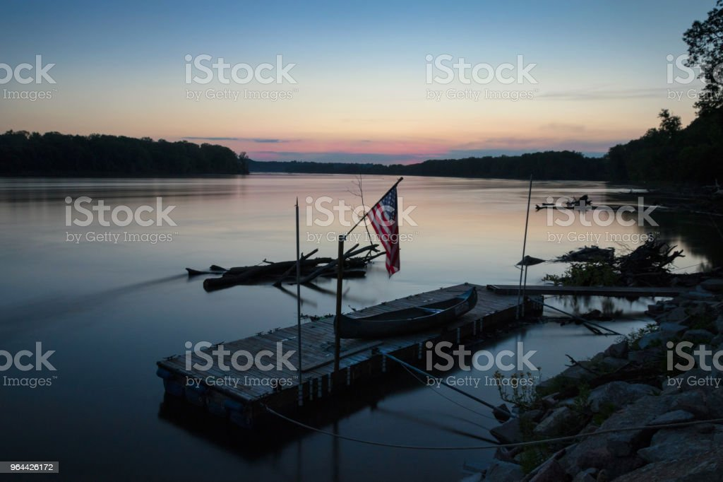 Calm Missouri River - Royalty-free American Flag Stock Photo