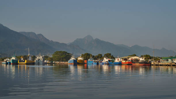Calm morning in the La Ceiba harbor stock photo