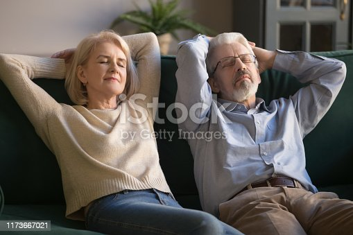 973962076istockphoto Calm old couple relaxing on sofa enjoy daytime nap together 1173667021
