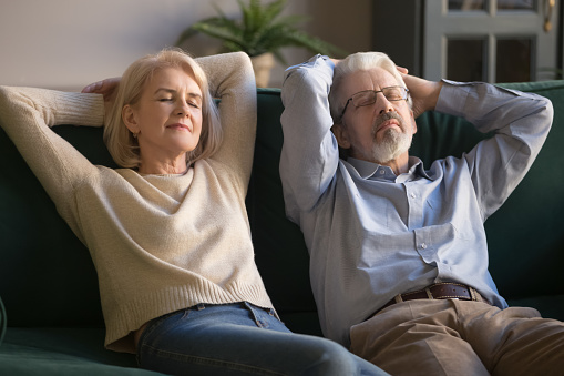 973962076 istock photo Calm old couple relaxing on sofa enjoy daytime nap together 1173667021