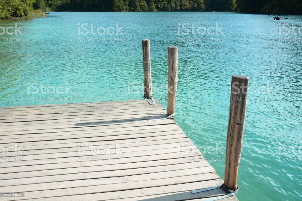 Calm on the lake pier in Plitvice Waterfalls Croatia 免版稅 stock photo