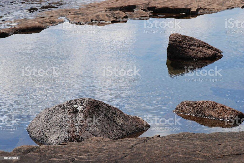 Calm Reflecting Lake with Rocks stock photo