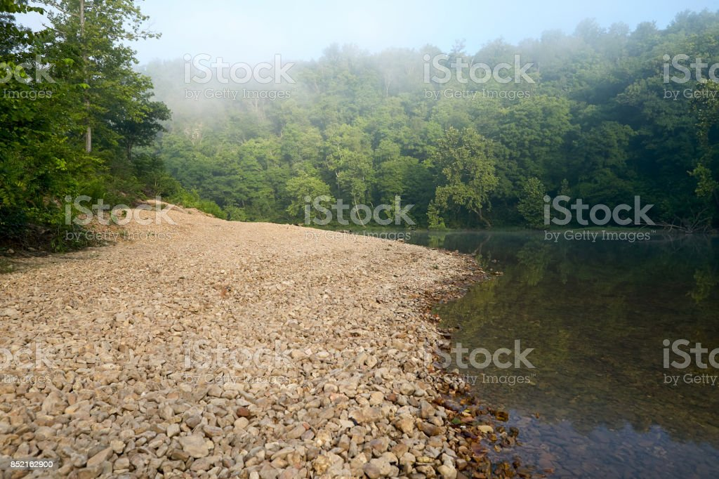 Calm river by misty forest stock photo