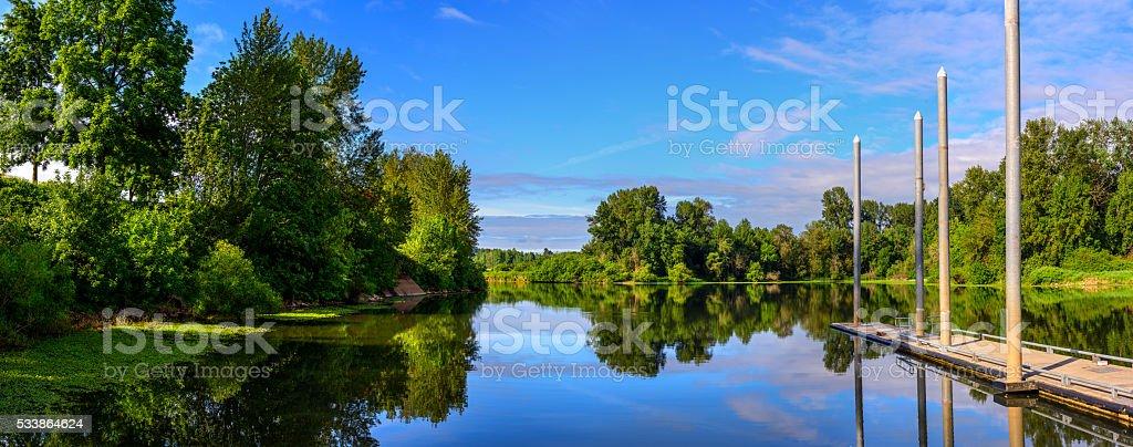 Calm River Panorama stock photo