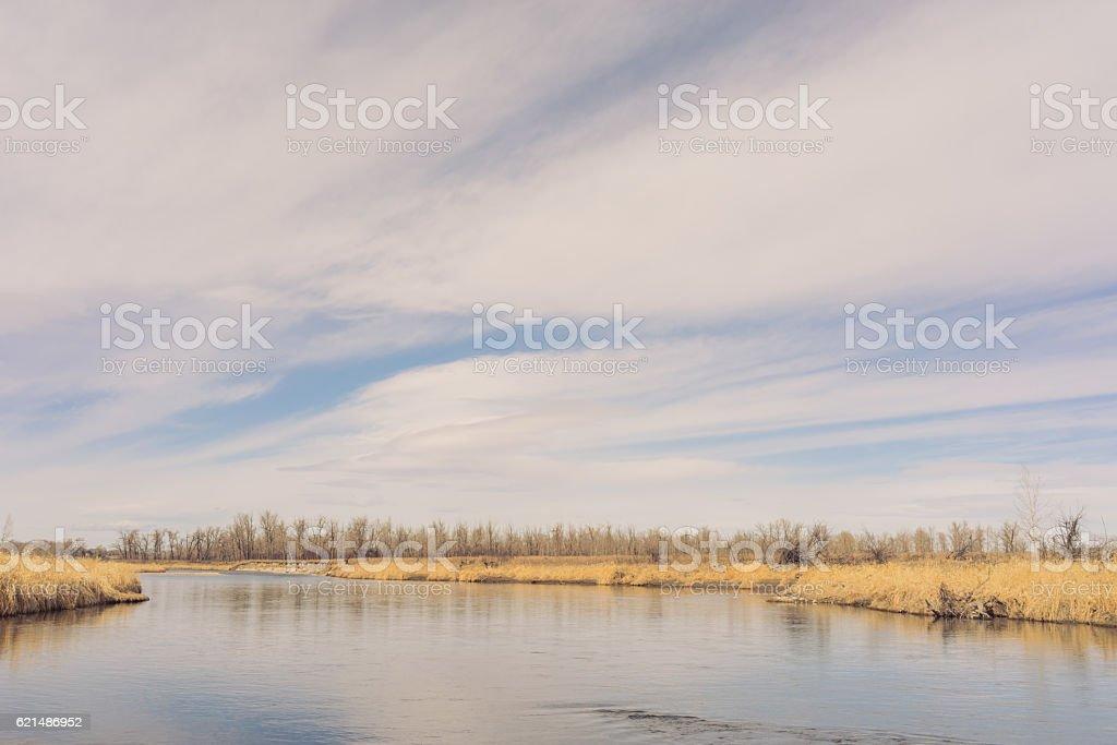 Calm River Water with Big Sky photo libre de droits