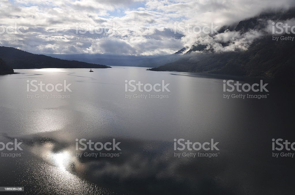 Calm Saint Mary Lake at sunset in Glacier National Park royalty-free stock photo