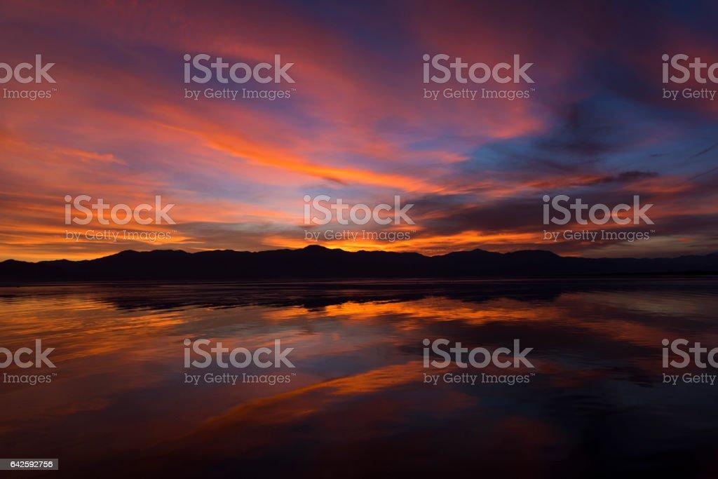 Calm Salton Sea Sunset stock photo