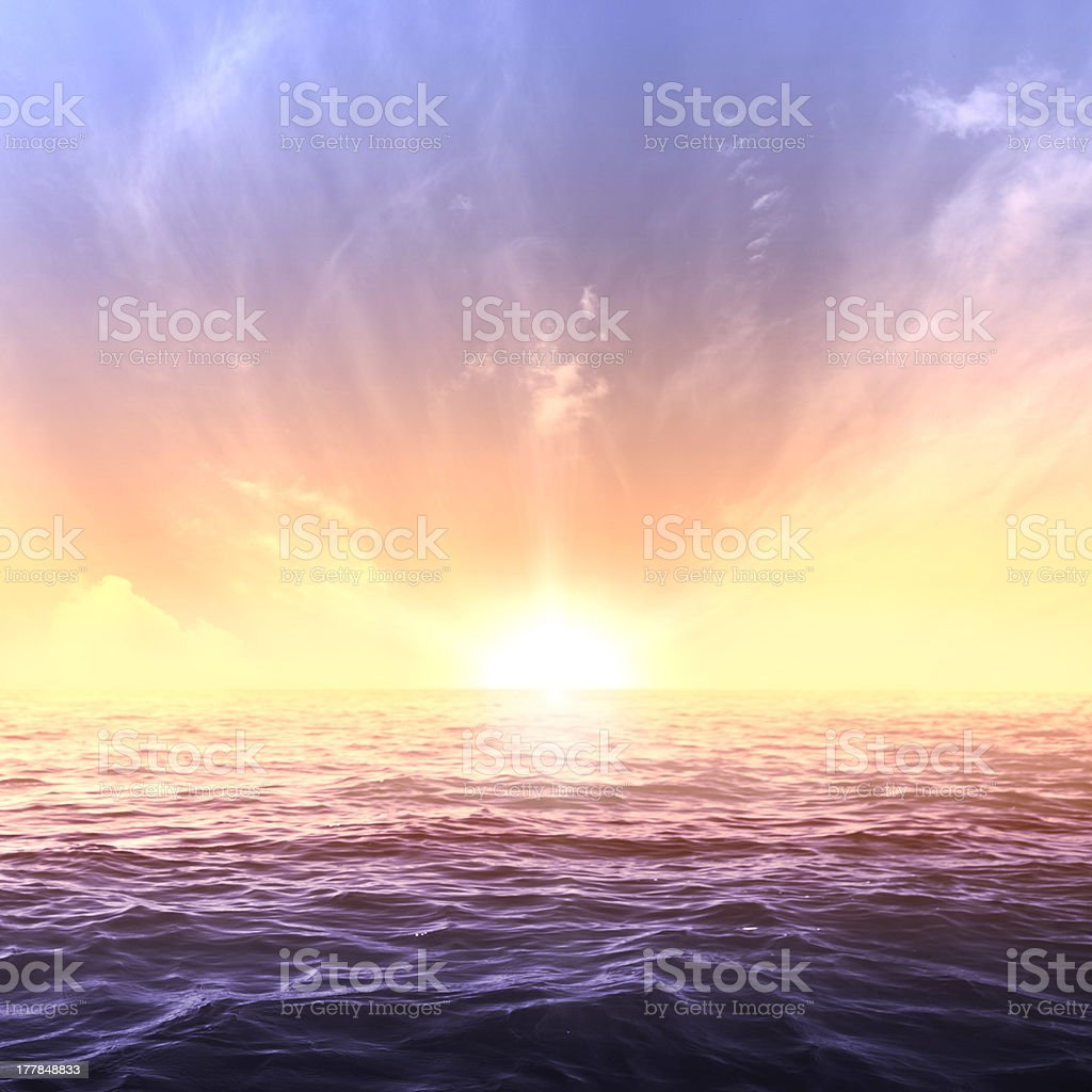Calm sea and sky during sundown. Bright seascape background stock photo