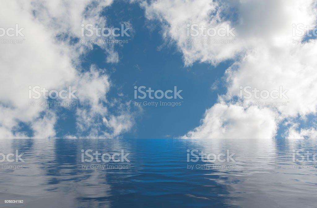 Ruhiges Meer führt zu einem blauen Himmel mit Wolken – Foto