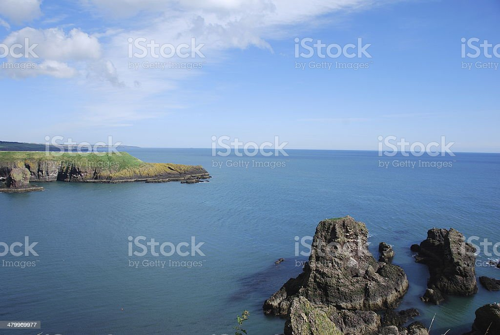 Calm Sea Off The Rugged Coast royalty-free stock photo