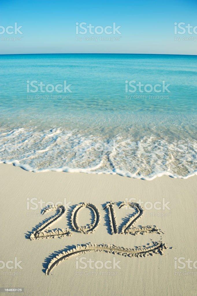 Calm Seas 2012 Message Tropical Beach royalty-free stock photo