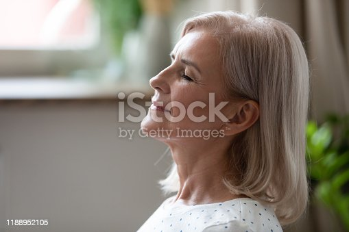 1060280766istockphoto Calm serene middle aged woman breathing with eyes closed 1188952105