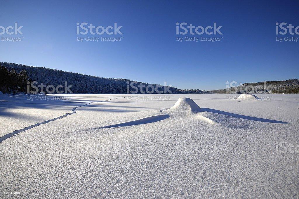 calm snow landscape stock photo