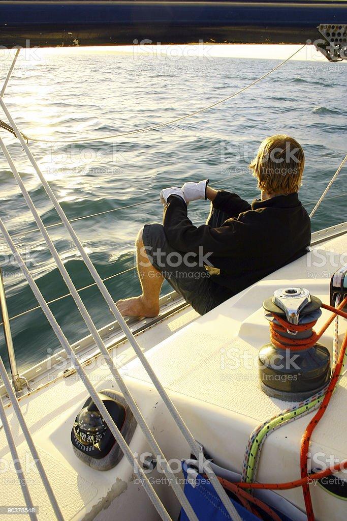 Calm Solo Sailor 3 stock photo
