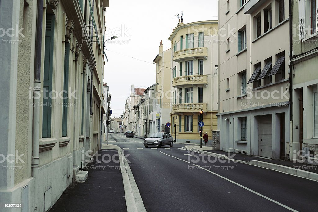 Calm Street in small French city royalty-free stock photo