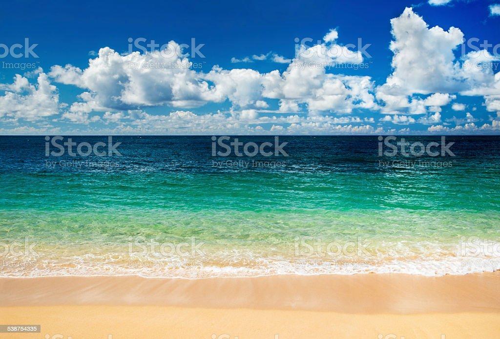 Calm summer day, Banzai Pipeline, North Shore, Oahu, Hawaii stock photo